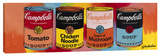 Four Campbell's Soup Cans 2 Stretched Canvas Print by Steve Kaufman