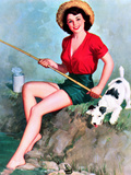 Fishing Pin-Up and Dog c1940s Posters by Walt Otto