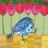 Blue Bird - Tulips Giclee-tryk i høj kvalitet af Robbin Rawlings