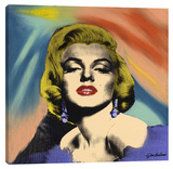 Marilyn With Earrings Stretched Canvas Print by Steve Kaufman