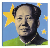 Mao: Blue Stretched Canvas Print by Steve Kaufman