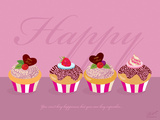 Happy Cupcakes - Pink Posters by Dominique Vari