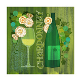 Blossoming Vineyards Wine Bottle Chardonay and Flowers Prints by Robin Pickens