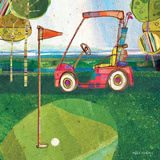 Golf Cart - Red Prints by Robbin Rawlings