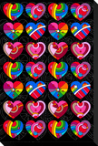 Pop Art Hearts Stretched Canvas Print by Howie Green