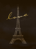 Love Paris - Black and Gold Print by Dominique Vari
