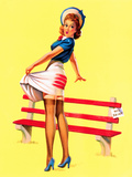 Sit Down Stripes Pin-Up c1940s Print by Art Frahm