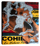 Young Castro's Cohiba Stretched Canvas Print by Steve Kaufman