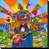 Hippie Musician Stretched Canvas Print by Howie Green