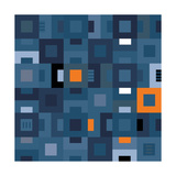 Geometric Abstract City Squares in Blue and Orange Poster von Robin Pickens