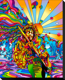 Jimi Color Stretched Canvas Print by Howie Green