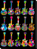 Pop Art Guitars Stretched Canvas Print by Howie Green