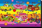 Pop Vehicles Stretched Canvas Print by Howie Green