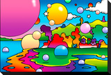 Bubbles Landscape Stretched Canvas Print by Howie Green