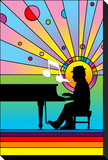 Piano Player 1 Stretched Canvas Print by Howie Green