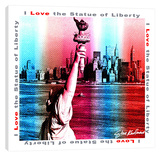 I Love Statue Of Liberty Stretched Canvas Print by Steve Kaufman