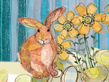 Floppy Bunny - Yellow Flowers Print by Robbin Rawlings