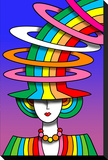 Lady Rainbow Hat Stretched Canvas Print by Howie Green