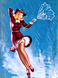 Caught in the Draft (What's Up) Pin-Up c1940s Prints by Gil Elvgren