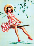 Teeter Taught Her (Well Balanced) Pin-Up 1944 Print by Gil Elvgren
