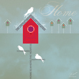 Bird House - Blue Grey Posters by Dominique Vari
