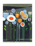 Floral Fetish Garden Stems and Flowers on Black Blue and Orange Night Premium Giclee Print by Robin Pickens