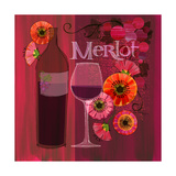 Blossoming Vineyards Wine Bottle Merlot and Flowers Prints by Robin Pickens