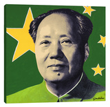 Mao: Green Stretched Canvas Print by Steve Kaufman