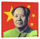 Mao Red Stretched Canvas Print by Steve Kaufman