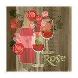 Blossoming Vineyards Wine Bottle Rose and Flowers Posters by Robin Pickens