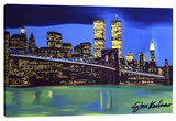 Brooklyn Bridge Night Stretched Canvas Print by Steve Kaufman