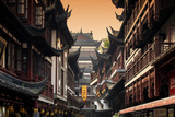 China 10MKm2 Collection - Traditional Architecture in Yuyuan Garden - Shanghai Metal Print by Philippe Hugonnard