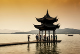 China 10MKm2 Collection - Water Pavilion at sunset Metal Print by Philippe Hugonnard