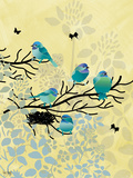 Chickadees with Nest Print by Bee Sturgis