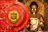 China 10MKm2 Collection - The Door God - Gold Buddha Metal Print by Philippe Hugonnard