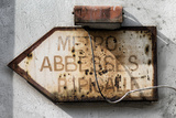 Paris Focus - Old Subway Directional Sign Photographic Print by Philippe Hugonnard