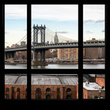 View from the Window - Empire State Building and Manhattan Bridge Photographic Print by Philippe Hugonnard