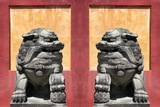 China 10MKm2 Collection - Asian Sculpture with two Lions Metal Print by Philippe Hugonnard