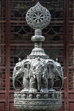 China 10MKm2 Collection - Detail Buddhist Temple - Elephant Statue Metal Print by Philippe Hugonnard