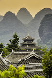 China 10MKm2 Collection - Chinese Buddhist Temple with Karst Mountains at Sunset Metal Print by Philippe Hugonnard