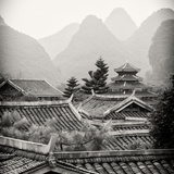China 10MKm2 Collection - Chinese Buddhist Temple with Karst Mountains Photographic Print by Philippe Hugonnard