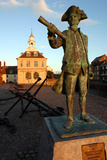Statue of Captain Vancouver at Dusk on the Purfleet Quay, Kings Lynn, Norfolk Photographic Print by Peter Thompson