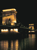 Chain Bridge (At Night), Budapest, Hungary Photographic Print by Peter Thompson