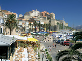 Restaurants in the Old Port with the Citadel in the Background, Calvi, Corsica Photographic Print by Peter Thompson