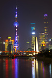 China 10MKm2 Collection - Shanghai Skyline with Oriental Pearl Tower at night Fotografie-Druck von Philippe Hugonnard