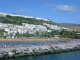 Beach and Breakwater, Puerto Rico, Gran Canaria, Canary Islands Photographic Print by Peter Thompson