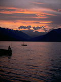 Fishing at Sunset, Lake Maggiore, Italy Papier Photo par Peter Thompson