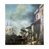 Painting of Old Custom House Quay, 18th Century Giclee Print by Samuel Scott