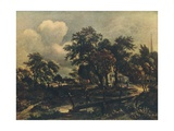 The Rustic Bridge, C17th Century Reproduction procédé giclée par Meindert Hobbema