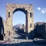 Arch of Caligula with Vesuvius Beyond, Pompeii, Italy Photographic Print by CM Dixon